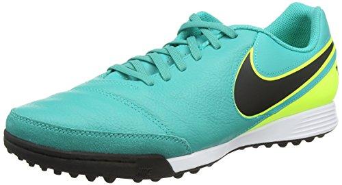 Nike Tiempox Genio II Leather TF, Scarpe da calcio Uomo, Turchese (Clear Jade/Black/Volt), 46 EU