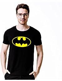 Staylish Mens Black Round Neck Cotton Traditional Bat Man T-Shirt For Men