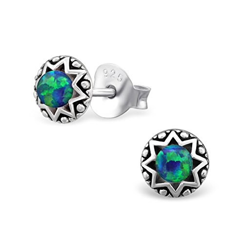 SILV Herren Ohrstecker Opal grün blau - Männer Ohrringe Kugel klein rund schwarz SV-126-Peacock (Männer Ohrringe Grüne)