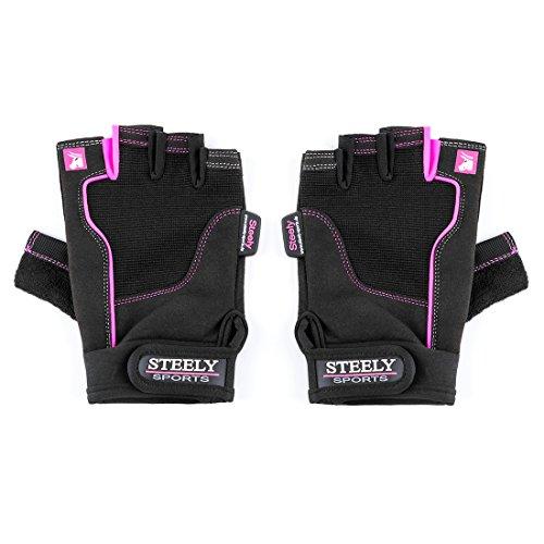 Steely Sports Damen Fitnesshandschuhe - Workout Glove - Lady-Edition (XS)- Farbe: schwarz/pink ( Fitness Handschuhe Frauen Sporthandschuh Trainingshandschuhe ) ( Fitness Handschuhe Frauen Sporthandschuh Trainingshandschuhe )