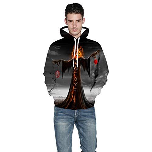 PAOLIAN Herren Kapuzenpullover Große Größe Paare Beängstigend Halloween 3D Gedruckt Party Langarm Hoodie Sweatshirt Top mit Taschen S-XXXXXL