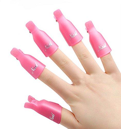 10 PCS Nail Art Plastique Soak Off Cap Clip/Nail accessoire, rose