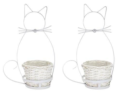 Metall-Figur Katze mit Pflanz-Gefäß 2 Stück