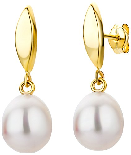 Miore Cultured Pearl Drop, 9 ct Yellow Gold Earrings