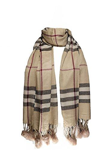 Wigwam accessories High Qualität großen Style Überprüfen Schal mit Bommeln Beige