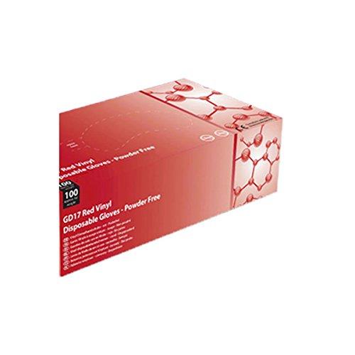 Guanti in vinile rosso Shield2–La scatola di 100–AQL–gd17r