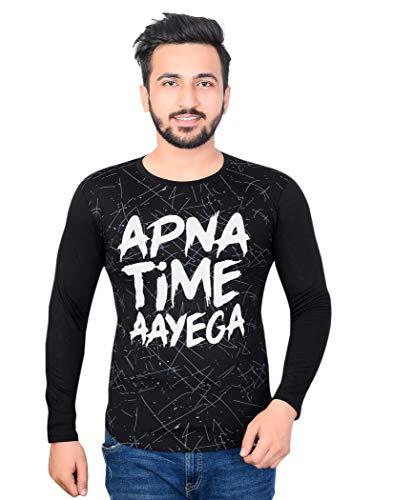 Fashion Cure Men's Cotton Apna Time Aayega Printed T-Shirt (Black, Medium)