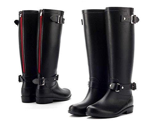 Moda Fibbia chiusura a zip Stivali da pioggia Donna o ragazza Impermeabile Stivali da pioggia , black / red zipper , 40