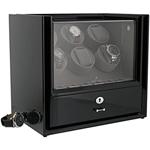 Six Watch Winder Con Storage in legno pianoforte nero, Magnum Collection by Aevitas