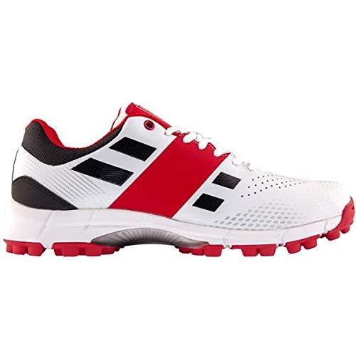 Graue Nicolls Velocity 2.0 Rubber Cricket-Schuhe für Herren, Weiß, 46