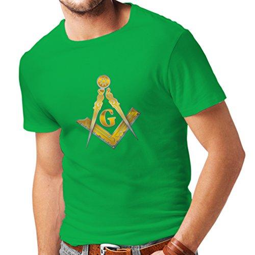 Männer T-Shirt Freimaurer - masonic - Symbole Winkel und Zirkel mit G (Medium Grün (Kostüm Geheime Gesellschaft)