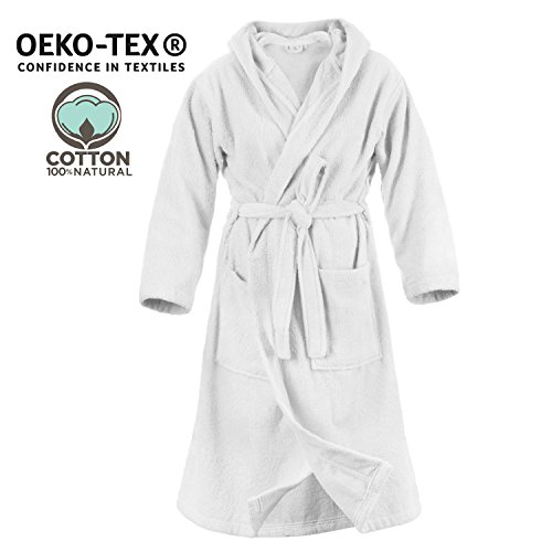 Twinzen accappatoio di cotone 100% con cappuccio per donna (xs, bianco albatro) certificato oeko tex - vestaglia 2 tasche, cintura e occhiello per appenderlo - morbido, assorbente e confortevol