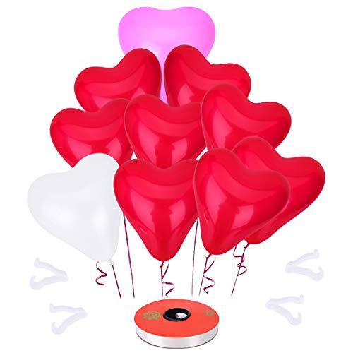 LegendTech Globos de corazón Blanco Rosa Rojo para Fiesta, Cumpleaños, Boda, Navidad - Colores Mezclados - 50 V-clip - 1 Cinta blanca