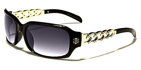 Kleo Rectangle Fashion Sport Driving Women's Sunglasses Full UV400 Protection Free BeachHutSunglasses pouch included (Black/gold)