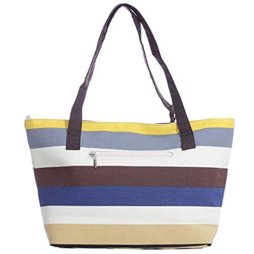 Stripe Canvas borsa a spalla vintage pulsante spiaggia Purse yellow blue cream