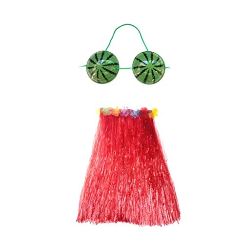 Kostüm Party Pinata Girl Und - Amosfun Hawaii Tropical Hula Grass Rock Kostüm Wassermelone BH Set 2tlg