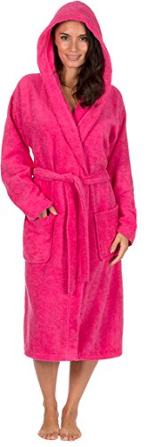 Ladies Dressing Gown Hooded Terry Towelling Spa Hotel Shawl Collar 100%  Cotton Robe (L 9d2fc9cdd