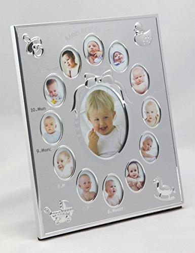Bilderrahmen Ersten Collage Jahr (My First Year Bilderrahmen Mein erstes Jahr Baby Galerie für 13 Fotos Collage: Farbe: Silber)