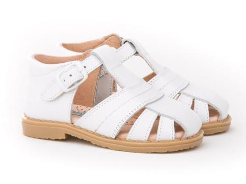 Sandales pour enfants 1ère Calzadura mod.537. Chaussures Enfant tous peau Made in Spain produit de qualité. Blanc Cassé - blanc