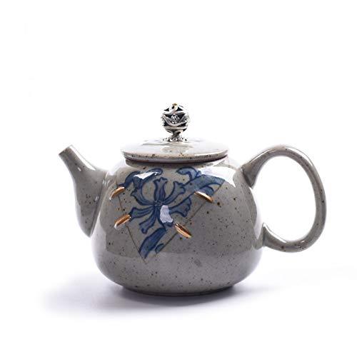 tobbrt Figuren Retro Gold Kleine Teekanne Hand Gold Antik Gebacken Porzellan Einzelne Topf Blau Grobe Keramik Kung Fu Tee-Set