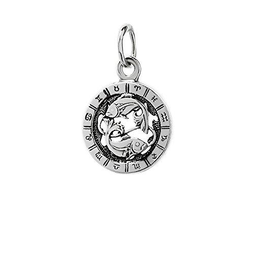 NKlaus Silber 925er Sterlingsilber Ketten Anhänger Horoskop Sternzeichen Fische 6328