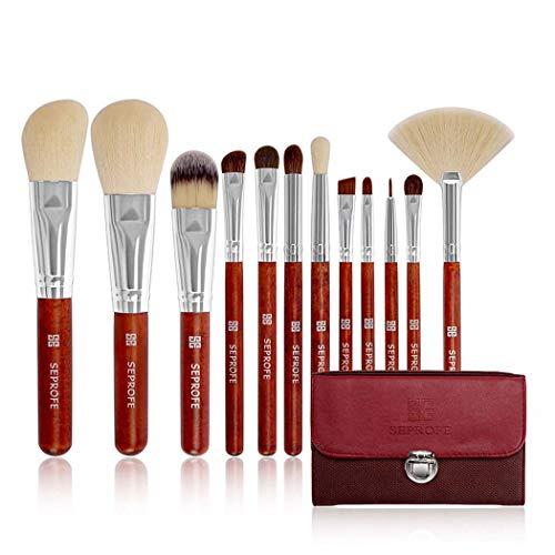 Pinceaux de maquillage 12 pièces Professional brosses cosmétiques kit avec sac PU rouge,Red