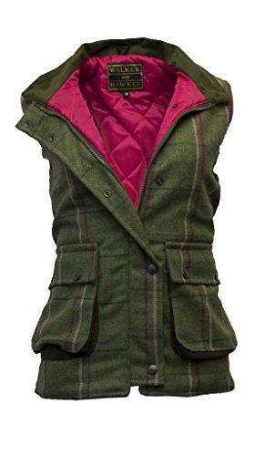 Damen Country-Weste aus Tweed - für die Jagd geeignet - Muster mit rosa Streifen - Größen 34 bis 50