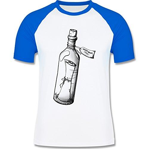 Statement Shirts - Geschenk Flaschenpost - zweifarbiges Baseballshirt für Männer Weiß/Royalblau