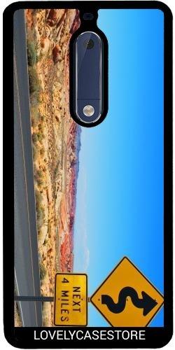 SilikonHülle für Samsung Nokia 5 - Straße USA USA Drehen Vereinigte Staaten Wüste Arid Sun Sky Blue