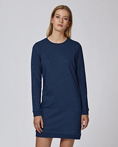 Maratus Damen Bio Sweatshirtkleid mit Rundhalsausschnitt Fair Wear Black Heather Blue