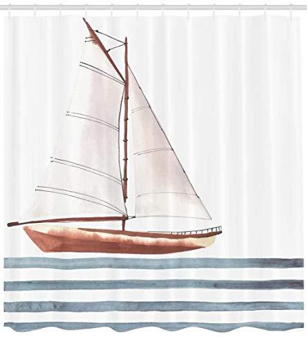 ABAKUHAUS Nautisch Duschvorhang, Thema Segeln Boot Wellen, Moderner Digitaldruck mit 12 Haken auf Stoff Wasser und Bakterie Resistent, 175 x 220 cm, Zimt Hellblau