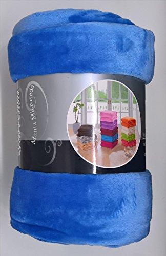 ForenTex - Manta de sedalina, (LI-220 AZUL CIELO), Ultra suave, microseda, para abrigarte con estilo y confort, 220 x 240 cm, 1,5 kg. No suelta pelo. Para sofá y cama. 1-4 mantas paga solo un envío, descuento equivalente antes de finalizar la compra.
