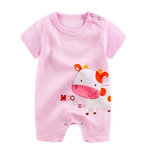 Baby Overall❤️❤️Vovotrade Neugeborenes Baby Boy Girl Kleidung Niedlichen Cartoon Giraffe, Pinguin, Kuh Gedruckt, Baumwolle Komfortable Kurzarm Jumpsuit Kletterkleidung 0-24 Monat (Rosa, 0-3 Monat)