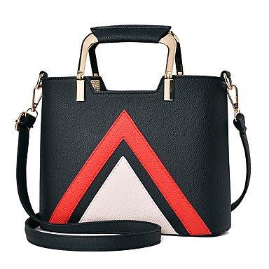 Damenmode Spleißen PU Leder Messenger Umhängetaschen Handtaschen/Klt Khaki