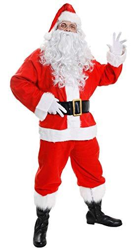 Deluxe Santa Kostüm 12Stück Weihnachtsmann darunter: Rot Jacke, Hose mit Kunstpelz trimmen + Gummizug rot + Red Santa Hat mit flauschig Kugel + Gelockt weiß Perücke + langen, weichen weißen Bart + Leder Look Boot Abdeckungen mit Kunstfell Besatz + Leder Look Gürtel + Gold Half Moon Gläser + weiße Handschuhe + XL Santa Sack und Glocke mit Holzgriff-Exklusiv zu Ilovefancydress-8Größen erhältlich (Boot-abdeckungen Kostüme Für)