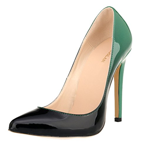 Xianshu Womens Lackleder High Heel Low Heel Wrestling Steigung Farbe Pumps Schuhe(Green-38 EU) (Low Lackleder Heel)