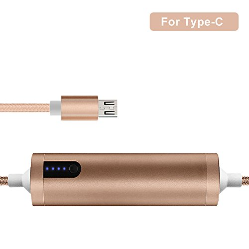 Power Bank Portable Ultrakompaktes externer Akku Ladegerät eingebautem Lightning- oder Micro USB Kabel oder Typ C 2 in 1 Datum Kabel Powerbank wählen für iPhone Android der U89, gold, C:for Type-C (Power-saft-bank)