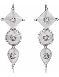 Ahilya Jewels .925 Sterling Silver Dakshin Collection Drop Earrings for Women