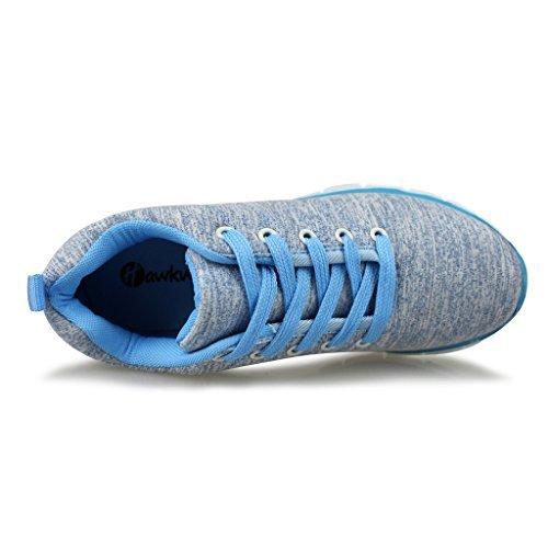 Hawkwell Damen Fitness Sportschuhe Schnürschuhe Sneakers Sport Turnschuhe Blau