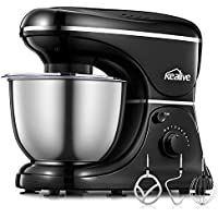 Kealive Stand Mixer 1200-Watt 8-Speed, Dough Mixer Food Mixer with 4.5L Stainless Steel Bowl, Dough Hooks, Whisk, Beater, Pouring Shield, Black