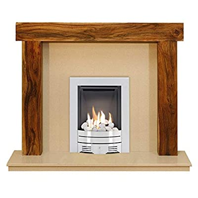 The Fenchurch Acacia & Marfil Stone with Crystal Diamond Contemporary Fire Brushed Steel, 54 Inch