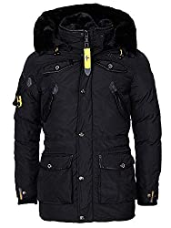Geographical Norway Herren Winterjacke - Modell Acore - Mantel mit Kapuze - Gefütterter Warmer Anorak - Outdoor Kapuzenjacke Winter 2019/20 (XXL, Schwarz)