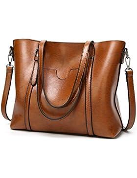 KAMIERFA Damen Shopper Henkeltasche Handtasche Top Griff PU Leder Freizeit Vintage Designer