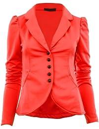 Mardela New Womens 5 Button Front Ponte Bold Shoulder Ladies Blazer Jacket Coat