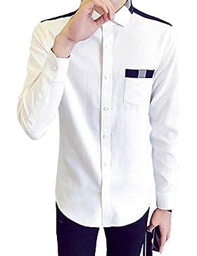 BOZEVON El algodón del diseño de las rayas de la camisa long-sleeved de la solapa de los nuevos hombres diseña...