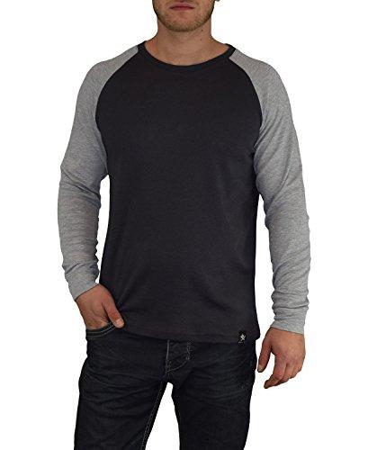 Gorilla-Star Herren Langarm-Shirt/Sweatshirt mit hochwertigem 3D-Stick auf dem Rücken Größe S bis 4XL Grau