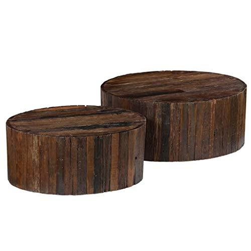 Festnight Couchtisch-Set 2-TLG. | Holz Wohnzimmertisch | Wohnzimmer Holztisch | Vintage Kaffeetisch | Retro Beistelltisch Set | Solides altes Schwellenholz 70x28 cm / 60x25 cm - Alt Couchtisch