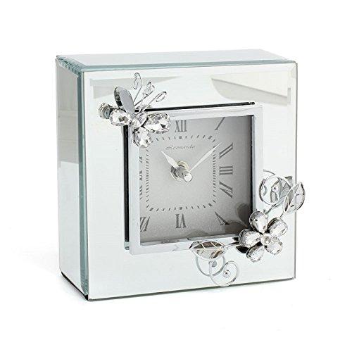 Lesser-amp-Pavey-Ltd-Cristal-Papillon-Miroir-Horloge-Argent