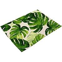 WEKDU Las hojas verdes Patrón de algodón de lino occidental cojín Mantel Mesa de comedor de aislamiento Mat Bowls Posavasos Accesorios de Cocina (Color : 1, Size : One Size)