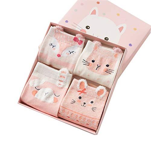 4 Paar Kindersocken mädchen, Weihnachten Cartoon Tier Niedlichen Baumwolle Socken für Kinder, Mädchen, jungen, Baby, Kleinkind/Rosa Tier/M/3-5Y